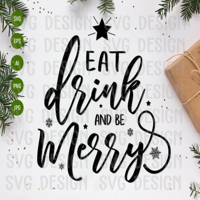 Eat Drink And Be Merry Christmas Svg Family By Trump Svg On Zibbet