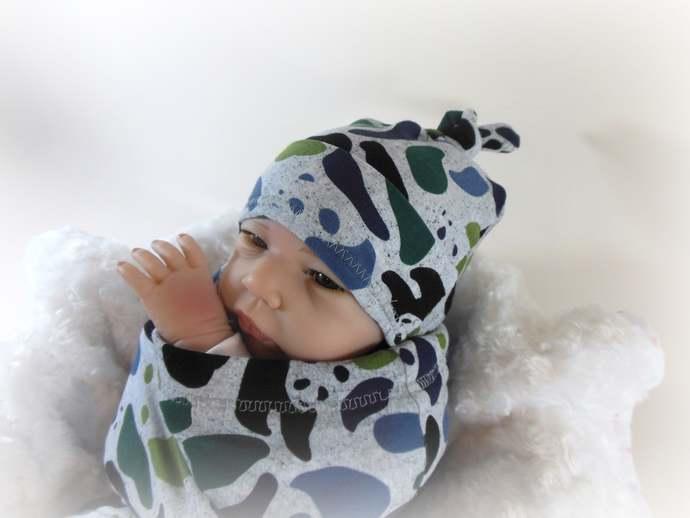Panda Baby Swaddle Sack, Panda Sleep Sack, Panda Baby Tie Knot Hat, Panda