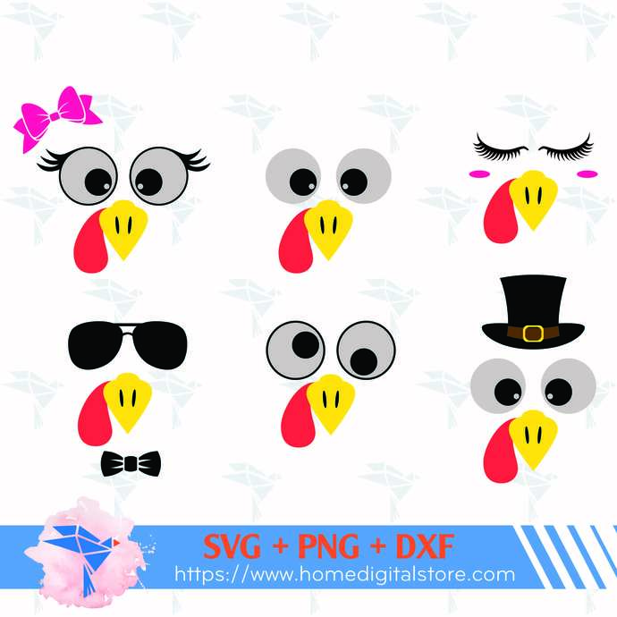 Turkey Face SVG, PNG, DXF. Instant download files for Cricut Design Space,