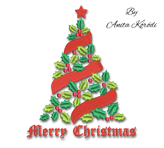 Christmas tree embroidery machine design machine pattern pes instant digital