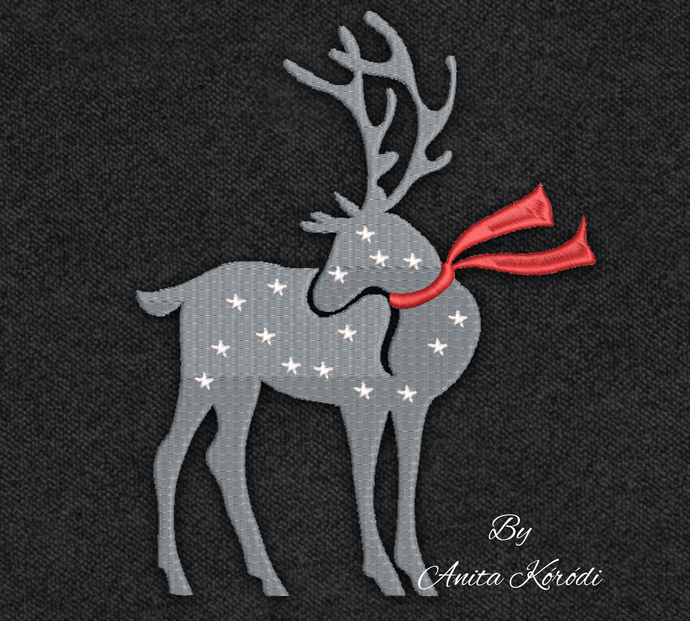 Christmas deer embroidery machine design pes pattern