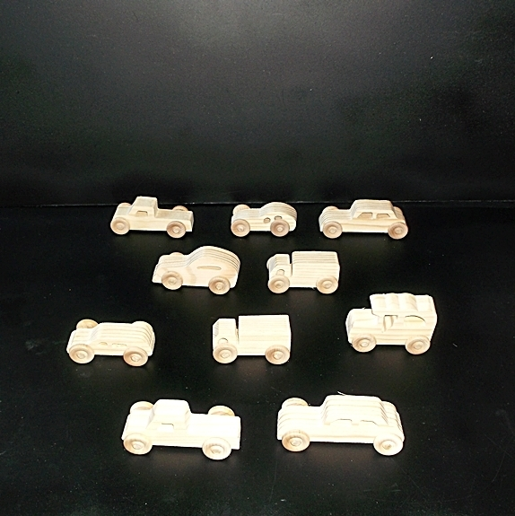 10 Handcrafted Wood Toy Pickups, Trucks, Cars   OT- 19 unfinished or finished