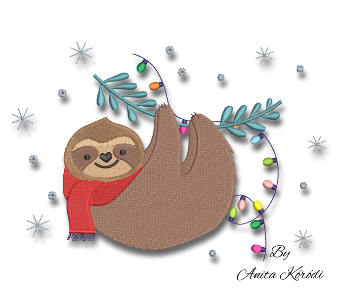 Christmas sloth embroidery machine designs winter instant digital download