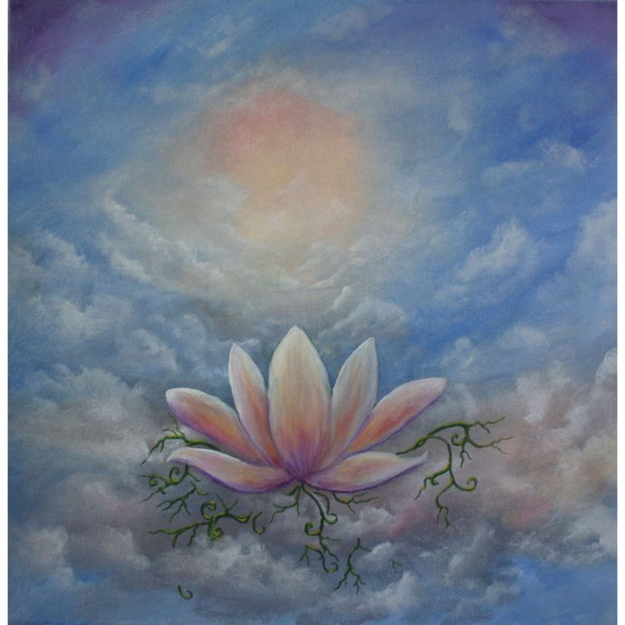 In Living Color original one of a kind acrylic on canvas floating lotus flower