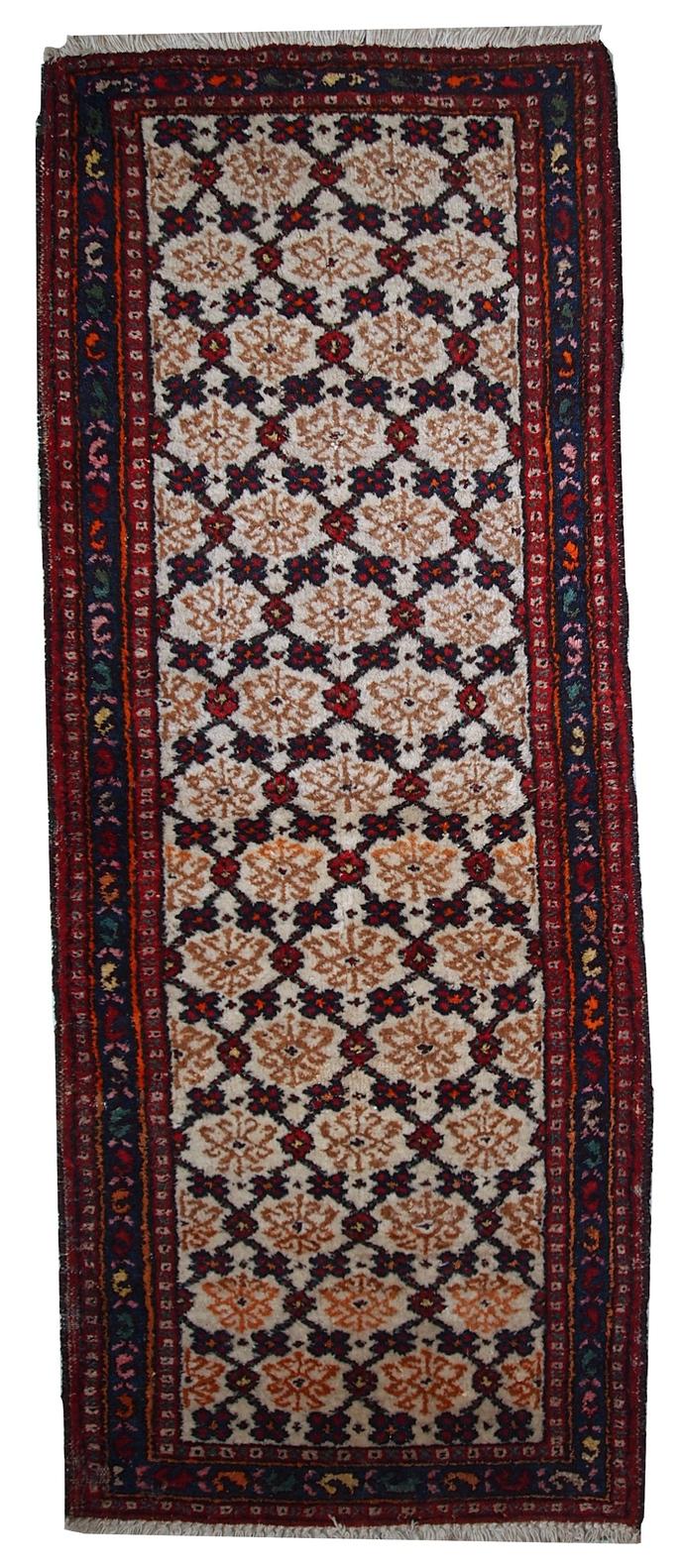 Handmade vintage Persian Hamadan runner 2.6' x 6.8' ( 80cm x 207cm ) 1960s -