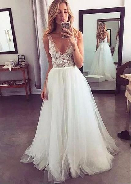 V neck Tulle Appliques Long Prom Dresses H4243