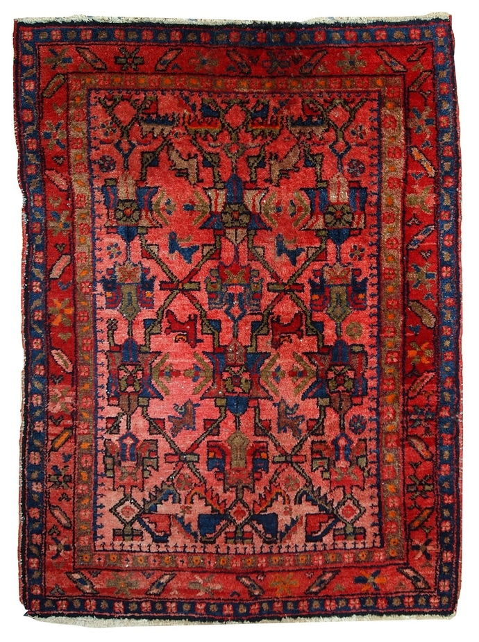 Handmade antique Persian Malayer rug 3.7' x 5' ( 113cm x 153cm ) 1920s - 1C403