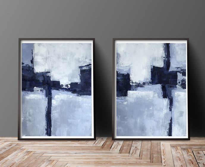 Blue Abstract Art, Printable Art, Set of 2 Prints, Modern Art Print Set,