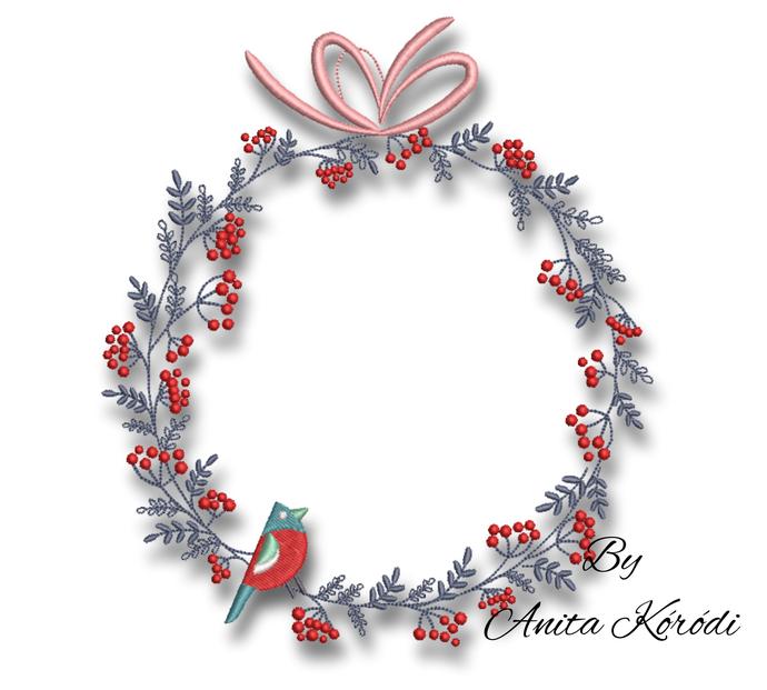 Christmas embroidery macine design frame bird pes circle winter