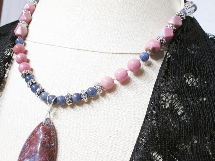 Poppy jasper, blue sodalite and pink rhodonite semiprecious gemstone necklace