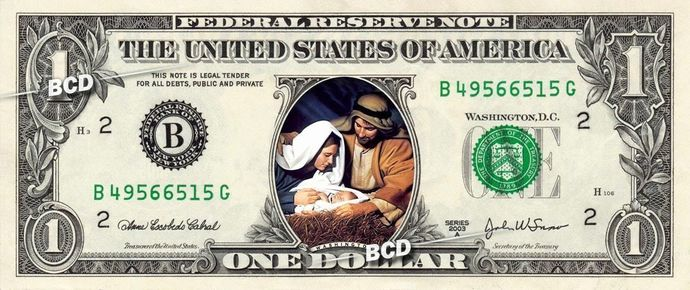 Christmas Nativity ( Manger and Baby Jesus ) on a REAL Dollar Bill Cash Money