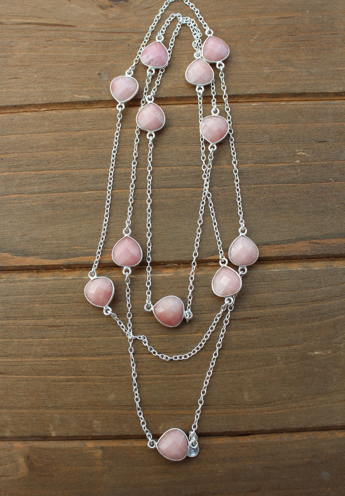 Fresh and Saucy, Long Gemstone Necklace, Pink Opal Necklace, Long Gem Necklace,