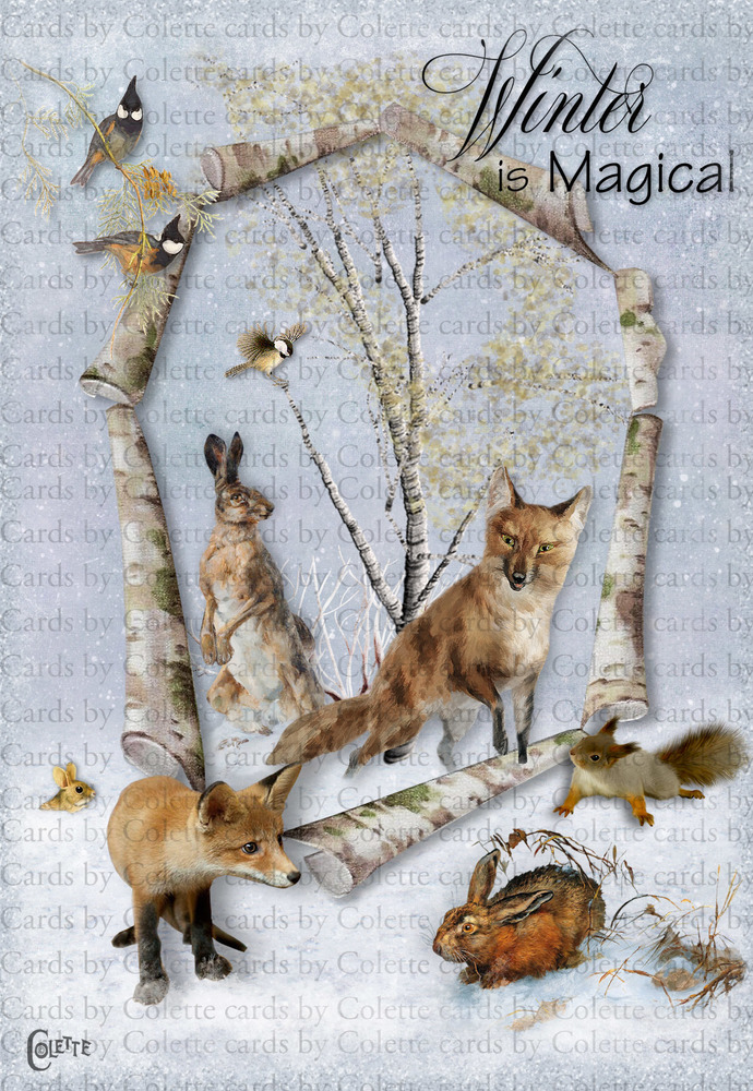 Winter Magical Animals Digital Collage Greeting Card3057