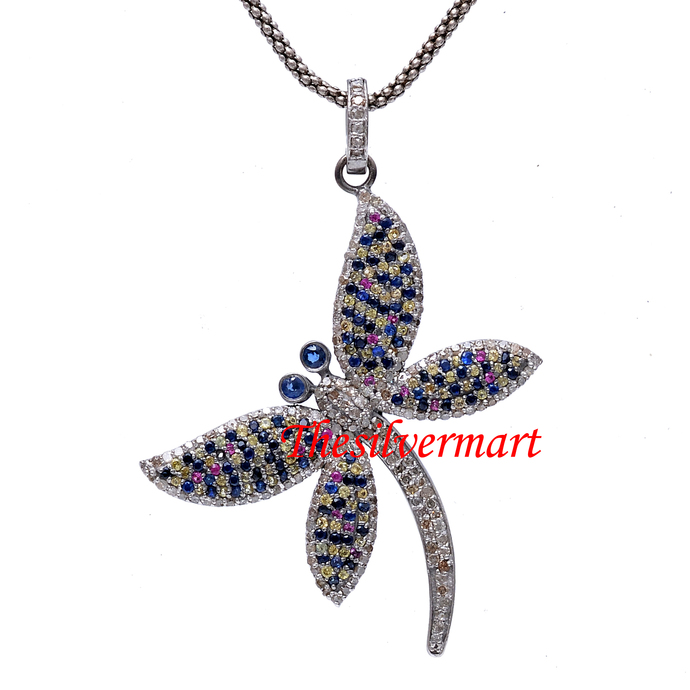 925 Sterling Silver Multi Sapphire Diamond Butterfly Pendant,Pave Diamond
