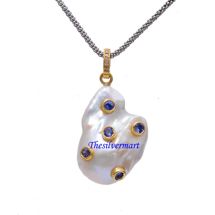 925 Sterling Silver Diamond Tanzanite Baroque Pearl Pendant,Baroque Pearl