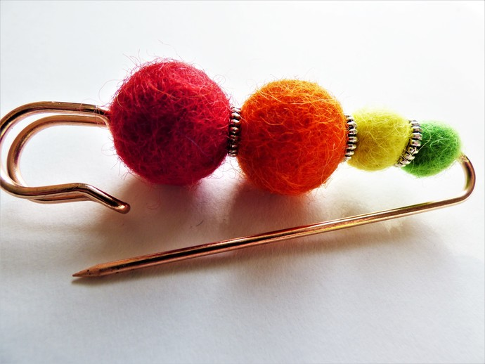 Shawl Pin / Brooch – Mixed Media – Unique Tibetan Siver and Handmade Felted