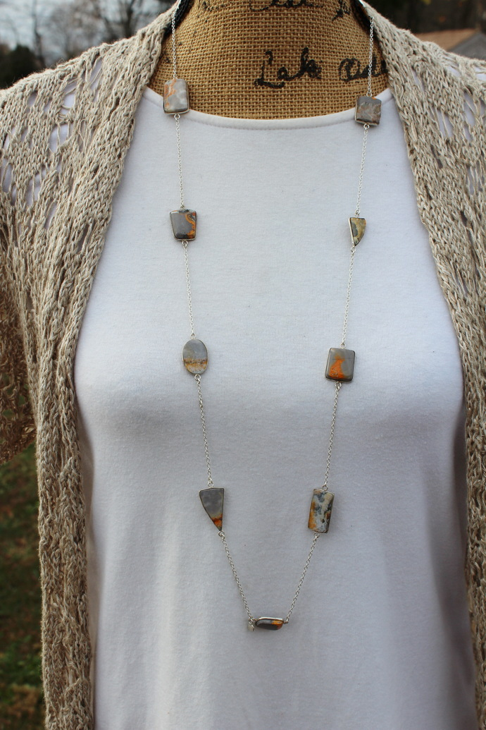 Long Gem Necklace, Long Stone Necklace, Long Layering Necklace, Silver Long