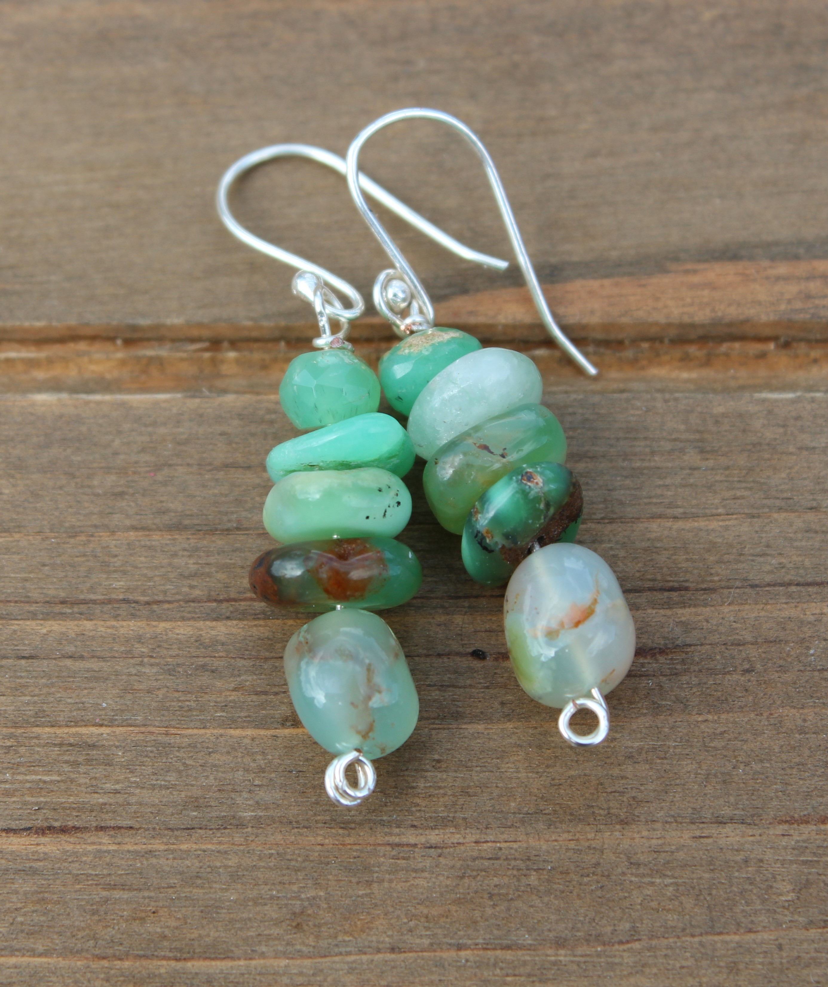 Chrysoprase Earrings, Chrysoprase jewelry, Chrysoprase Dangle, Drop Earrings,