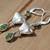 Stamped Peridot Earrings, Peridot Jewelry, Dangle & Drop Earrings, Silver