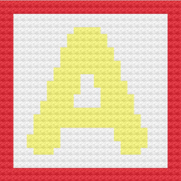 Children's Toy Block Letter A Throw Pillow C2C Crochet Pattern PDF Graph &