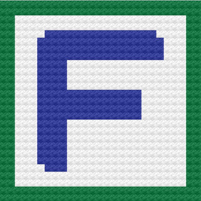 Children's Toy Block Letter F Throw Pillow C2C Crochet Pattern PDF Graph &