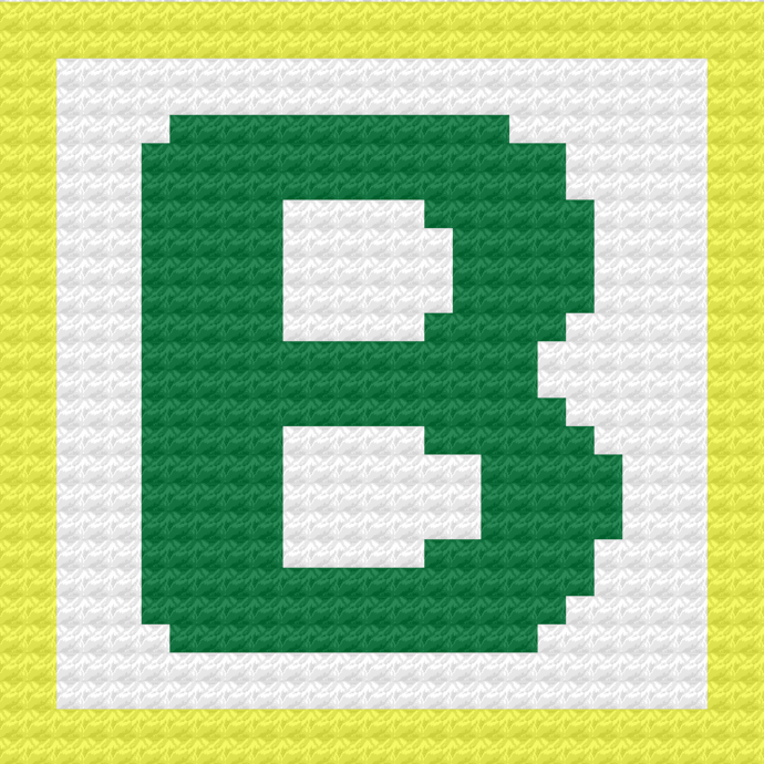 Children's Toy Block Letter B Throw Pillow C2C Crochet Pattern PDF Graph &