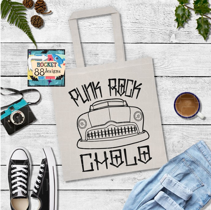 Punk Rock Cholo 50's Custom Black or Natural Cotton Canvas Tote Bag