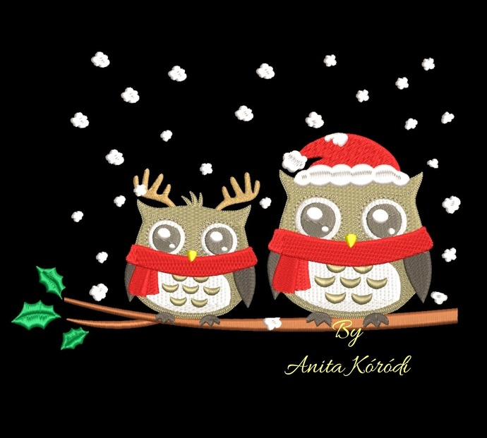 Christmas owls embroidery machine designs winter instant digital download