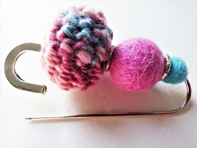 Shawl Pin / Brooch – Mixed Media – Unique Felted, Crochet, Tibetan Silver Beads