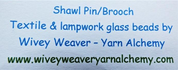 Shawl Pin / Brooch – Mixed Media – Unique Handmade Glass Lampwork, Tibetan