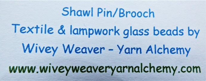 Shawl Pin / Brooch – Mixed Media – Unique Handmade Glass Lampwork, Silver Colour