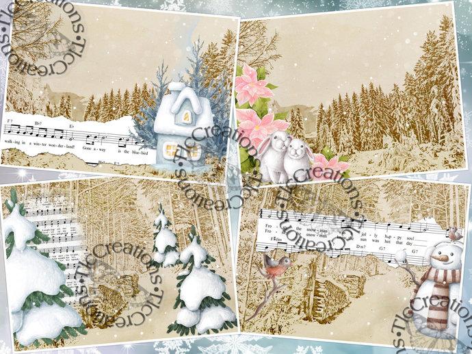Winter Cheer Whimsical Junk Journal Kit Printable Scrapbook