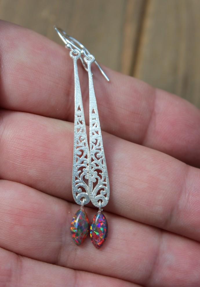 Opal Scroll Earrings, Dangle Drop Earrings, Silver Earrings, Boho Earrings,