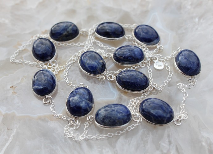 Long Sodalite Gemstone Necklace, Navy blue Necklace, Long silver necklace,
