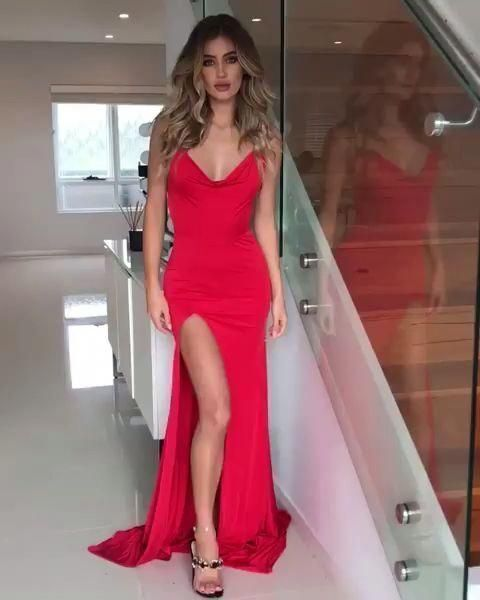 Sexy Sleeveless Red Split Slit Evening Party Dresses H4261