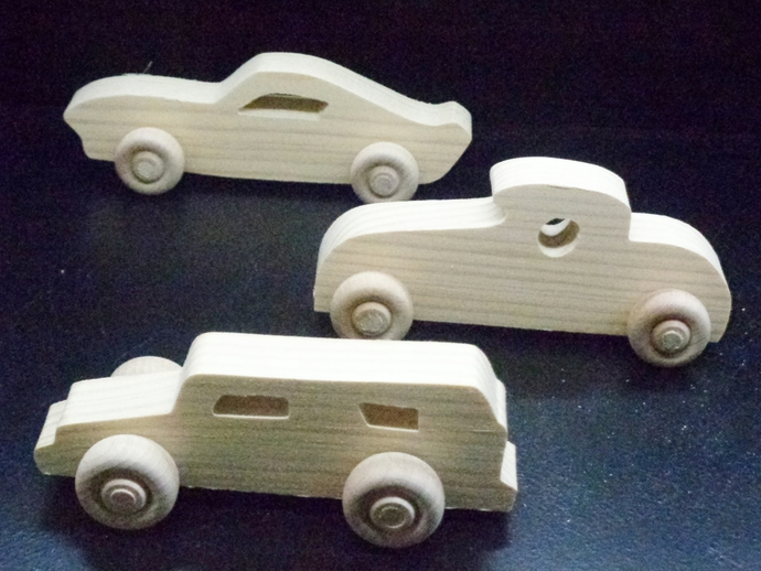Pkg of Handcrafted Wood Toy Cars  OT-88-3-BH   unfinished or finished