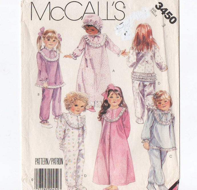 McCall's 3450 Girls Robe, Pajamas, Nightgown 80s Vintage Sewing Pattern Size 3