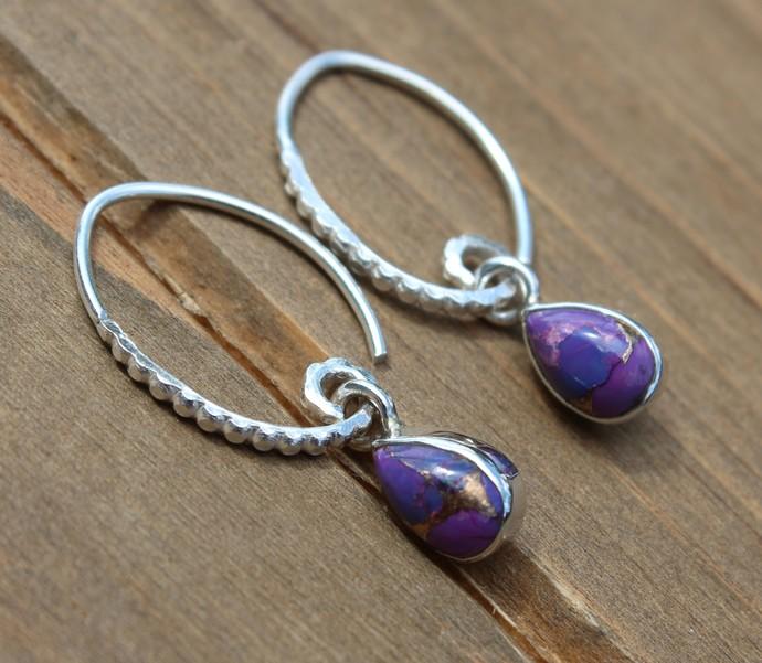 Petite Purple Copper Turquiose Earrings, Sterling silver Earrings, Dangle Drop