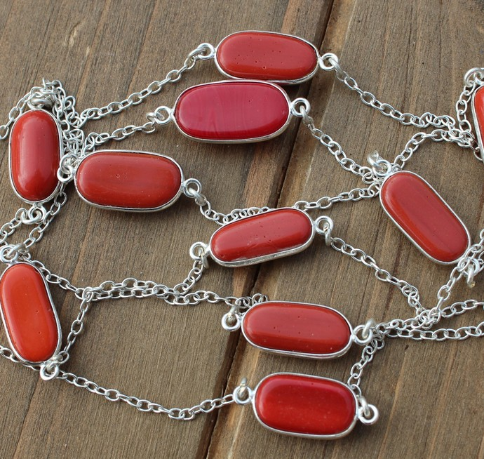 Long Red Coral Gemstone Necklace, Red Necklace, Long silver necklace, Layering