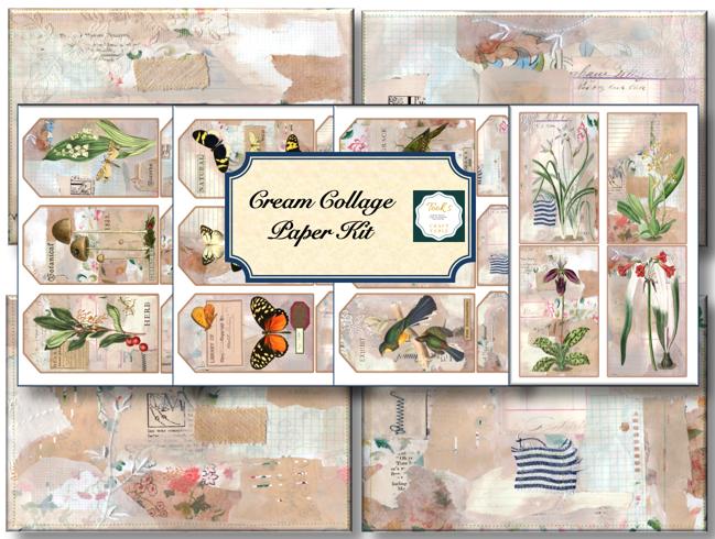 Cream Collage Paper Kit.