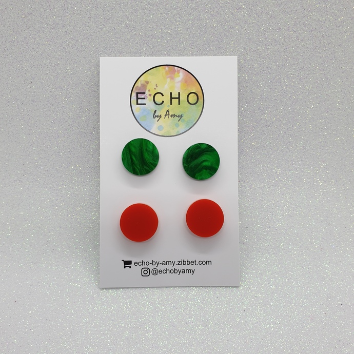 Acrylic Stud Pack - Green & Red