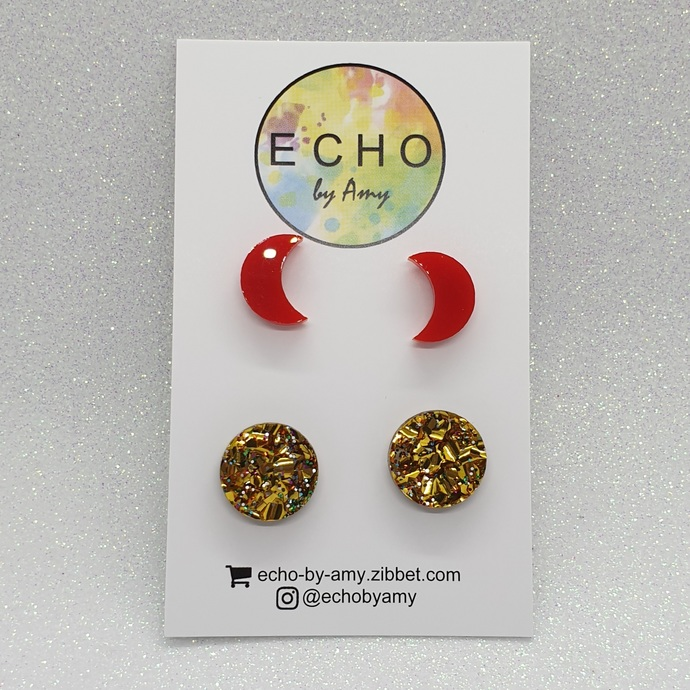 Acrylic Stud Pack - Red Moon & Party Gold Glitter