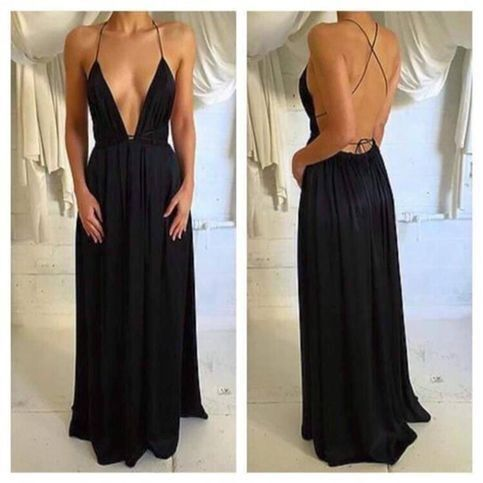 Sexy Sleeveless Evening Party Dresses Deep V neck Chiffon Prom Dresses H4273