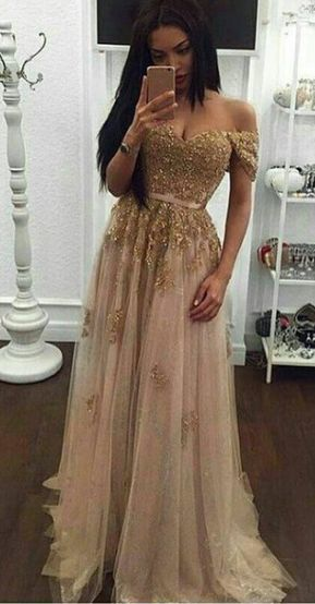 Off Shoulder Appliques Tulle Long Prom Dresses Evening Party Gowns H4277