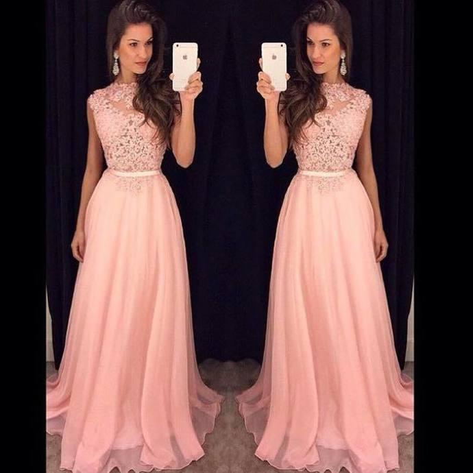 A Line Chiffon Pink Homecoming Dresses Long Prom Dresses H4279