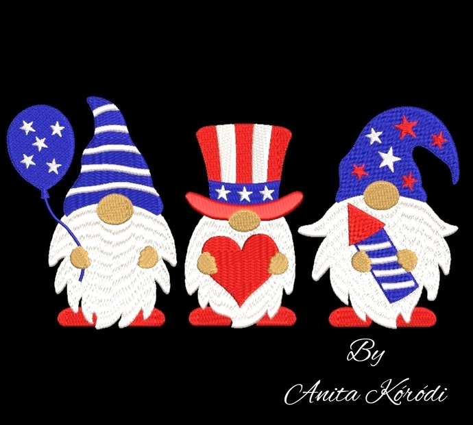 Usa gnomes embroidery machine designs 4th of July instant digital download