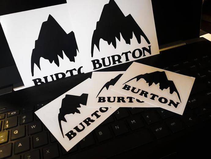 BURTON logo decal. Snowboards Pro Decal for window or snowboard.