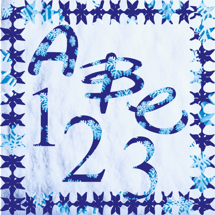 ABC and Numbers 11a-Digital ClipArt-Fonts-Art Clip-Snowflake-Gift