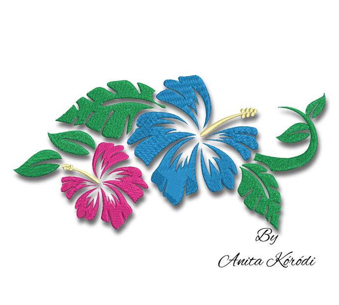 Embroidery machine design hibiscus hawaiian tropical flowers pattern pe file