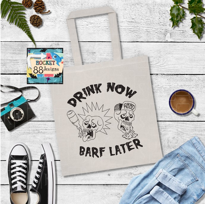 Punk Rock Cholo Drink Now Black or Natural Cotton Canvas Tote Bag
